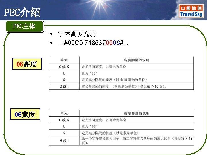 PEC介绍 PEC主体 • 字体高度宽度 • …#05 C 0 7186370606#. . . 06高度 06宽度