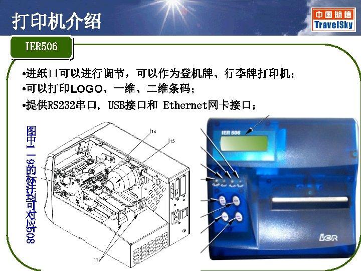 打印机介绍 IER 506 • 进纸口可以进行调节,可以作为登机牌、行李牌打印机; • 可以打印LOGO、一维、二维条码; • 提供RS 232串口, USB接口和 Ethernet网卡接口; 1 9