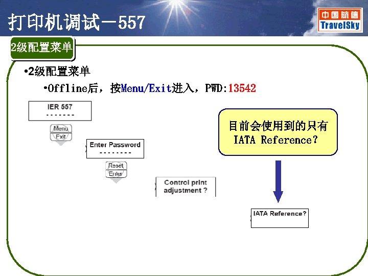 打印机调试-557 2级配置菜单 • 2级配置菜单 • Offline后,按Menu/Exit进入,PWD: 13542 目前会使用到的只有 IATA Reference?