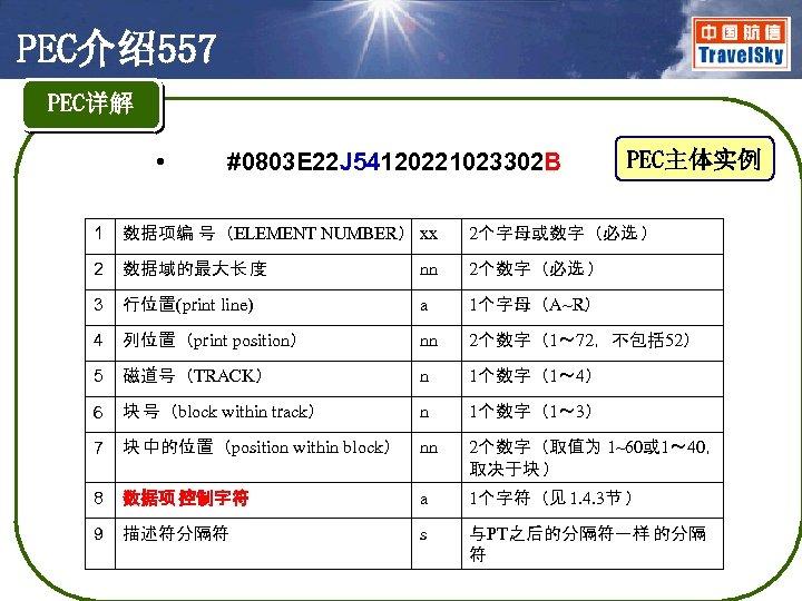 PEC介绍557 PEC详解 • #0803 E 22 J 54120221023302 B PEC主体实例 1 数据项编 号(ELEMENT NUMBER)