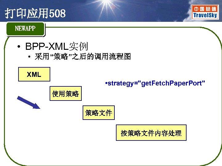 """打印应用 508 NEWAPP • BPP-XML实例 • 采用""""策略""""之后的调用流程图 XML • strategy="""