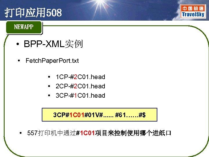 打印应用 508 NEWAPP • BPP-XML实例 • Fetch. Paper. Port. txt • 1 CP-#2 C