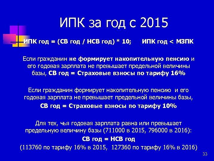 ИПК за год с 2015 ИПК год = (СВ год / НСВ год) *