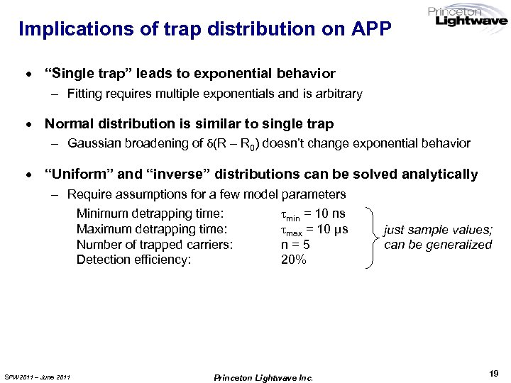 "Implications of trap distribution on APP · ""Single trap"" leads to exponential behavior –"