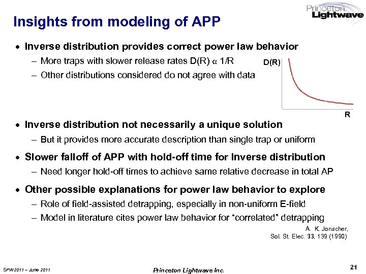 Insights from modeling of APP · Inverse distribution provides correct power law behavior –