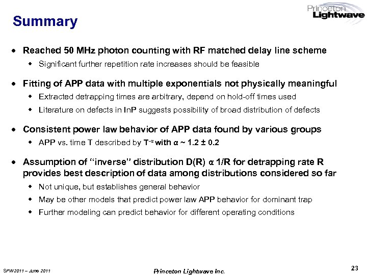 Summary · Reached 50 MHz photon counting with RF matched delay line scheme w
