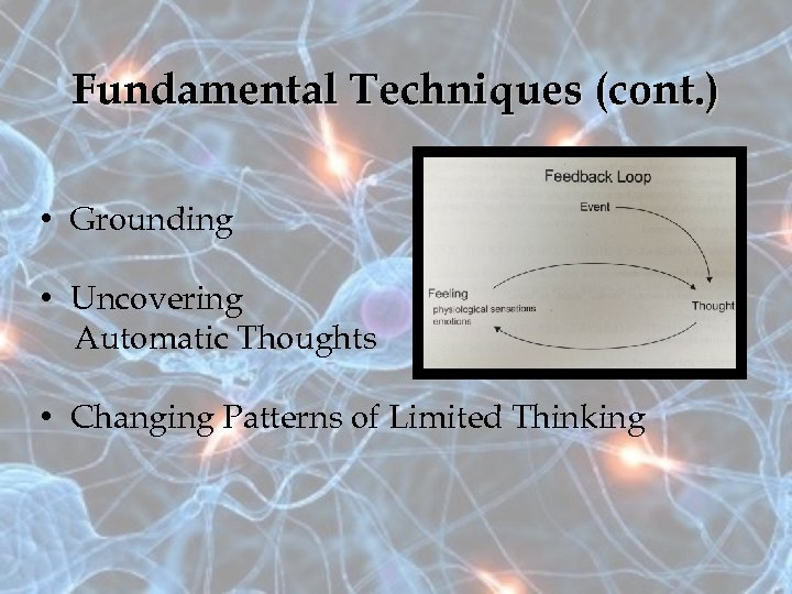 Fundamental Techniques (cont. ) • Grounding • Uncovering Automatic Thoughts • Changing Patterns of