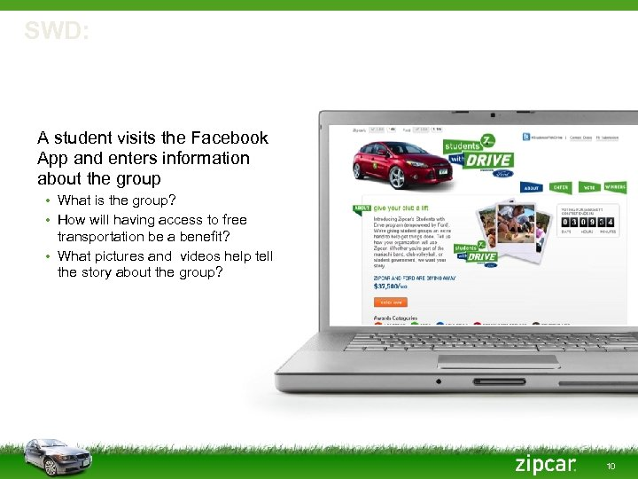 SWD: Facebook App A student visits the Facebook App and enters information about the