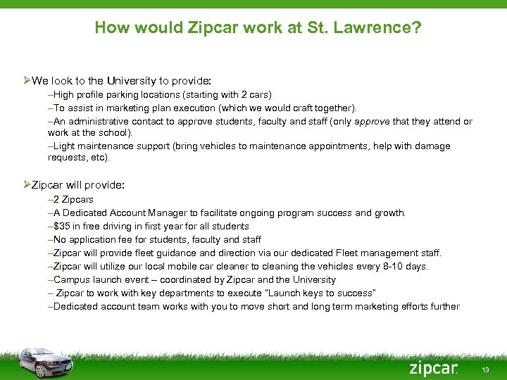 How would Zipcar work at St. Lawrence? ØWe look to the University to provide: