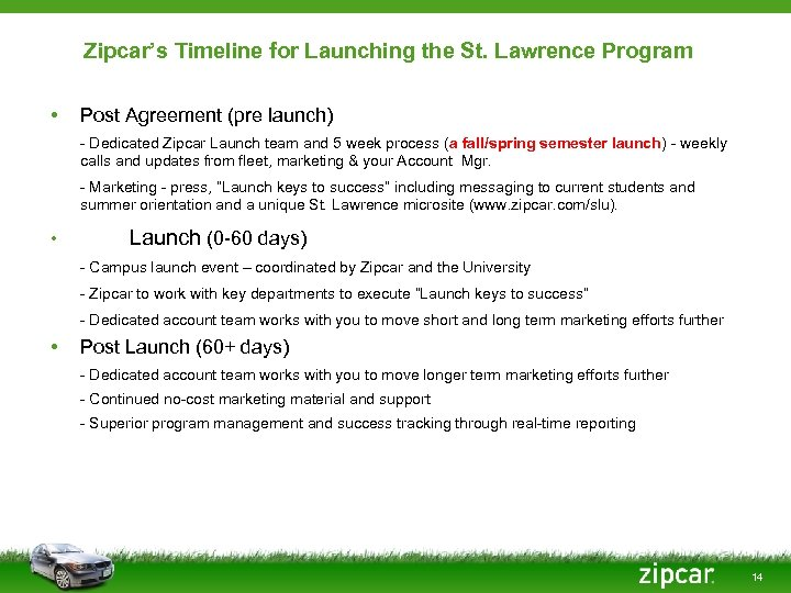 Zipcar's Timeline for Launching the St. Lawrence Program • Post Agreement (pre launch) -