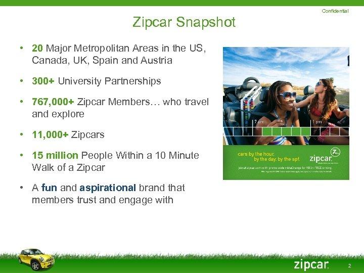 Confidential Zipcar Snapshot • 20 Major Metropolitan Areas in the US, Canada, UK, Spain