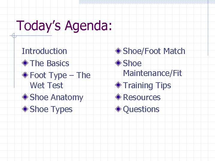 Today's Agenda: Introduction The Basics Foot Type – The Wet Test Shoe Anatomy Shoe