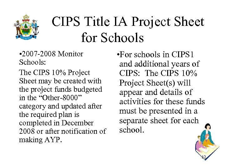 CIPS Title IA Project Sheet for Schools • 2007 -2008 Monitor Schools: The