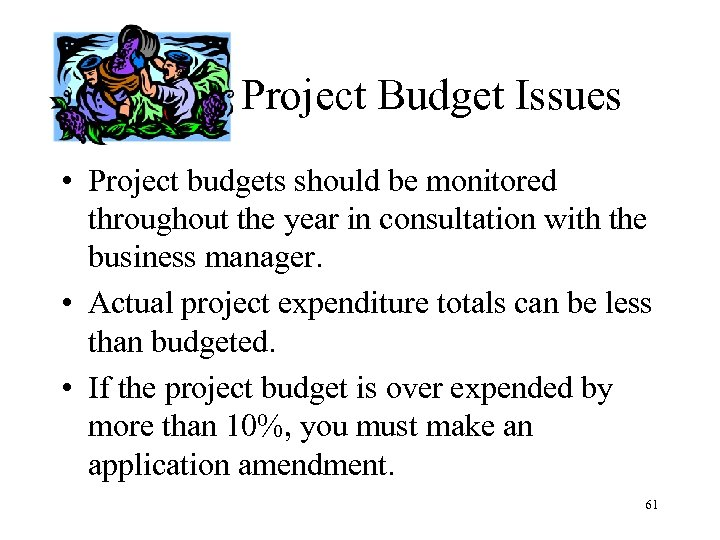 Project Budget Issues • Project budgets should be monitored throughout the year in consultation