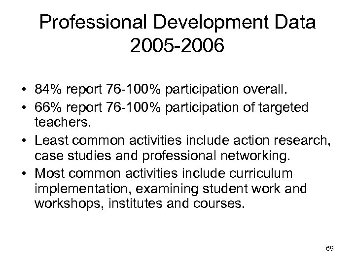 Professional Development Data 2005 -2006 • 84% report 76 -100% participation overall. • 66%