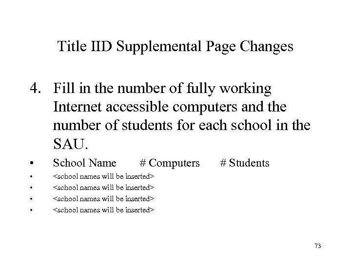 Title IID Supplemental Page Changes 4. Fill in the number of fully working Internet