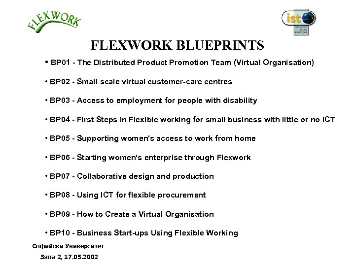 FLEXWORK BLUEPRINTS • BP 01 - The Distributed Product Promotion Team (Virtual Organisation) •