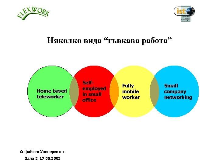 """Няколко вида """"гъвкава работа"""" Home based teleworker Софийски Университет Зала 2, 17. 05. 2002"""