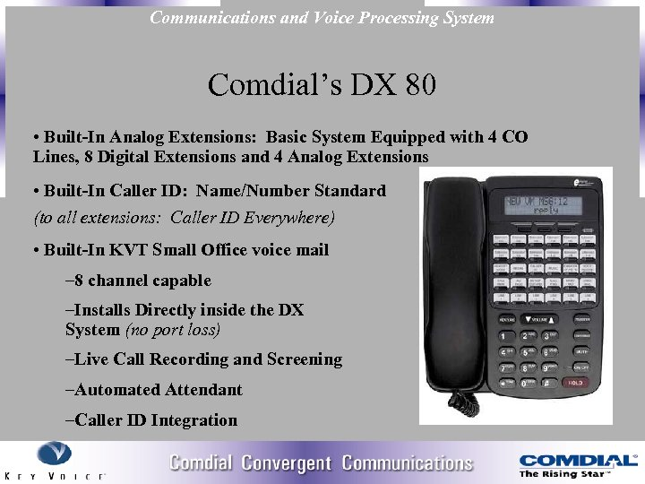 Communications and Voice Processing System Comdial's DX 80 • Built-In Analog Extensions: Basic System