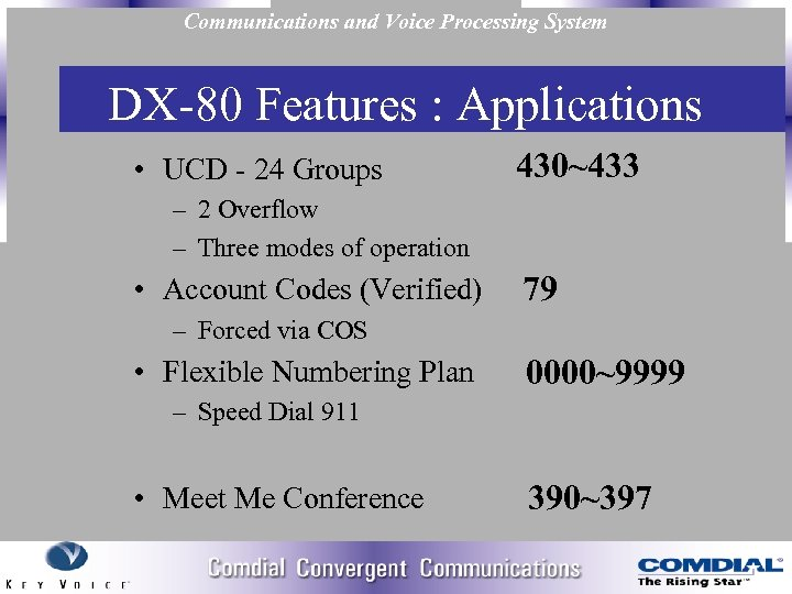 Communications and Voice Processing System DX 80 Features : Applications • UCD 24 Groups