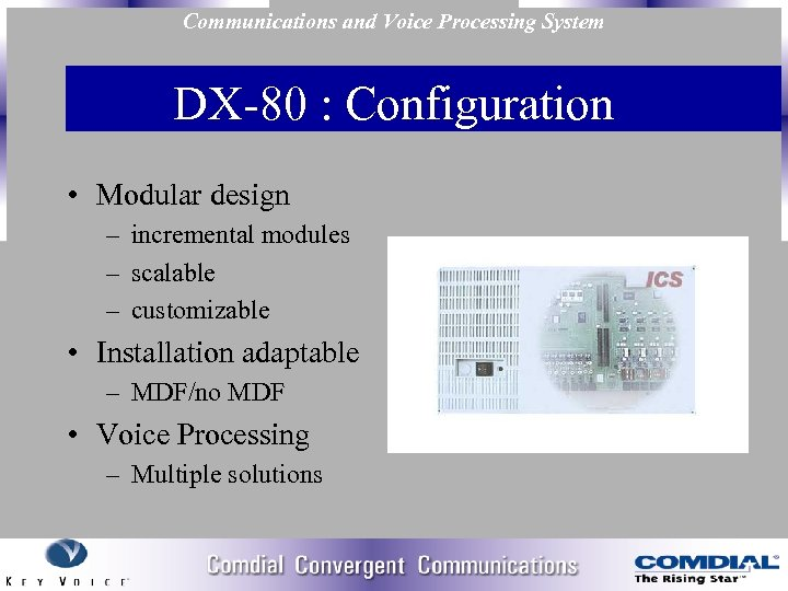 Communications and Voice Processing System DX 80 : Configuration • Modular design – incremental