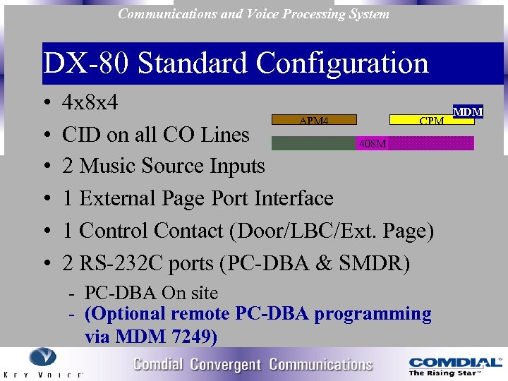 Communications and Voice Processing System DX 80 Standard Configuration • • • 4 x