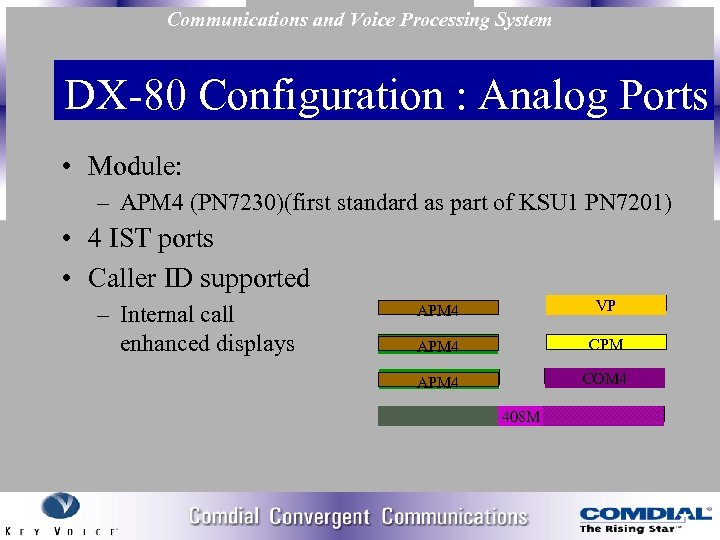 Communications and Voice Processing System DX 80 Configuration : Analog Ports • Module: –