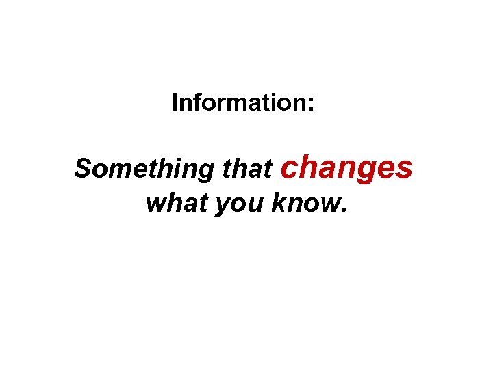 Information: Something that changes what you know.