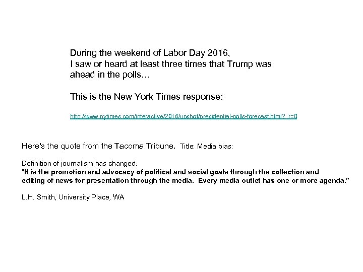 During the weekend of Labor Day 2016, I saw or heard at least three
