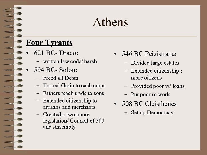 Athens Four Tyrants • 621 BC- Draco: – written law code/ harsh • 594