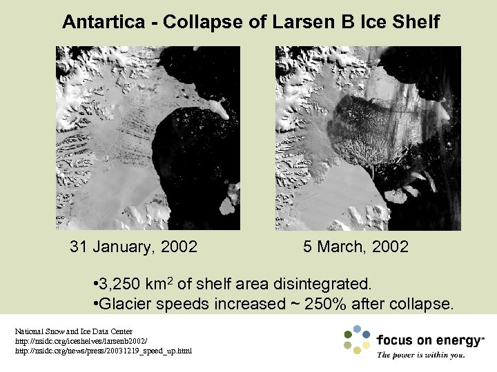 Antartica - Collapse of Larsen B Ice Shelf 31 January, 2002 5 March, 2002