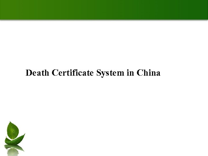 Death Certificate System in China