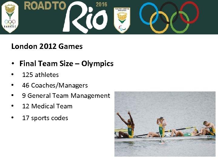 London 2012 Games • Final Team Size – Olympics • • 125 athletes 46