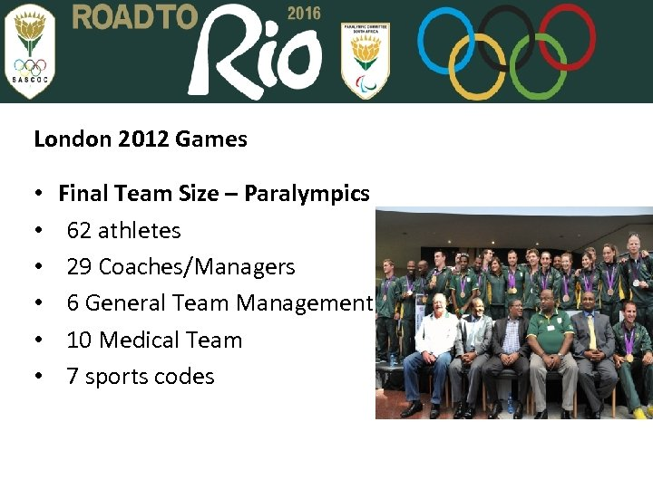 London 2012 Games • • • Final Team Size – Paralympics 62 athletes 29
