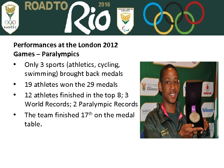 Performances at the London 2012 Games – Paralympics • Only 3 sports (athletics, cycling,