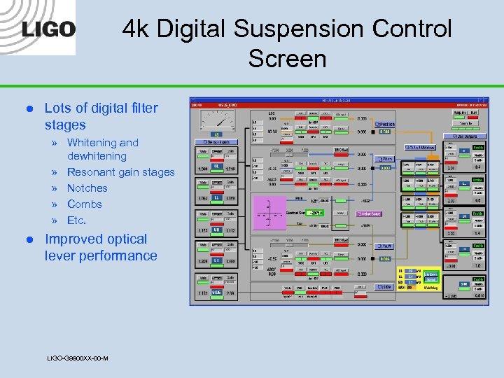 4 k Digital Suspension Control Screen l Lots of digital filter stages » Whitening