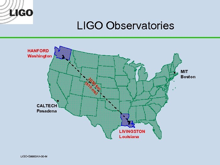 LIGO Observatories HANFORD Washington MIT Boston 30 (± 30 10 k m m s)