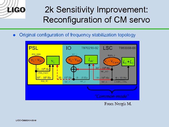 2 k Sensitivity Improvement: Reconfiguration of CM servo l Original configuration of frequency stabilization