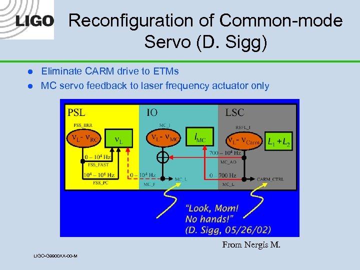Reconfiguration of Common-mode Servo (D. Sigg) l l Eliminate CARM drive to ETMs MC