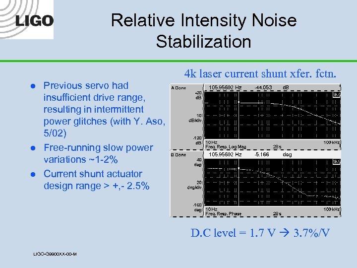 Relative Intensity Noise Stabilization l l l Previous servo had insufficient drive range, resulting
