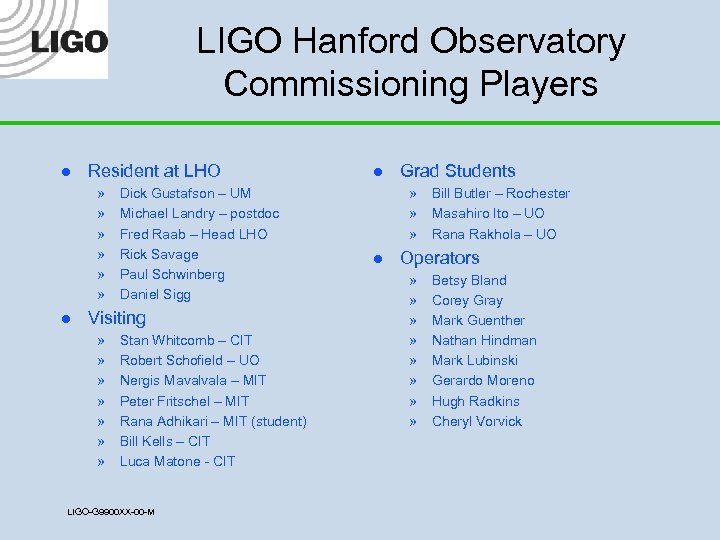 LIGO Hanford Observatory Commissioning Players l Resident at LHO » » » l Dick