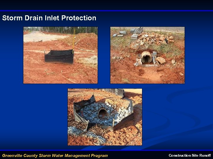 Storm Drain Inlet Protection Greenville County Storm Water Management Program Construction Site Runoff