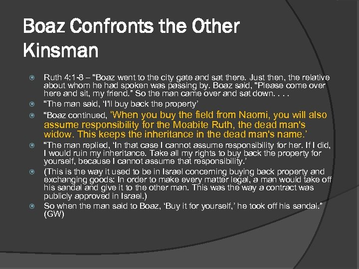 """Boaz Confronts the Other Kinsman Ruth 4: 1 -8 – """"Boaz went to the"""