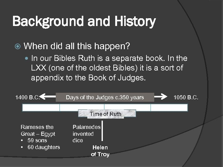 Background and History When did all this happen? In our Bibles Ruth is a