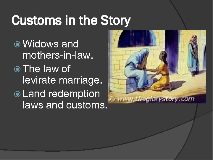 Customs in the Story Widows and mothers-in-law. The law of levirate marriage. Land redemption