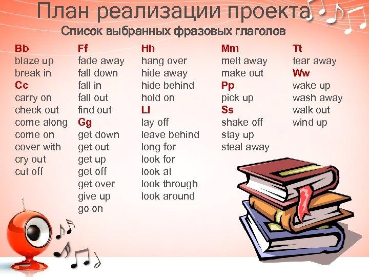 План реализации проекта Список выбранных фразовых глаголов Bb blaze up break in Cc carry