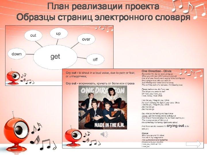 План реализации проекта Образцы страниц электронного словаря