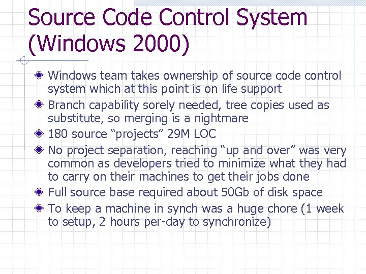 Source Code Control System (Windows 2000) Windows team takes ownership of source code control