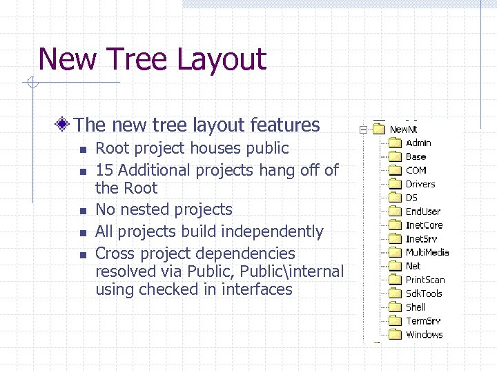 New Tree Layout The new tree layout features n n n Root project houses