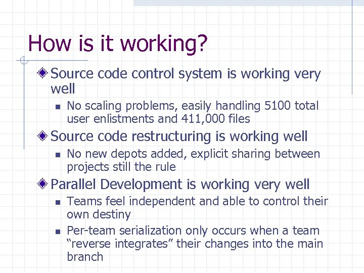 How is it working? Source code control system is working very well n No